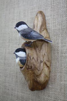 Chickadee Pair Bird Wood Carving Hand Carved Bird by BerlinGlass Art Sculpture En Bois, Bird Sculpture, Animal Sculptures, Clay Birds, Ceramic Birds, Wood Carving Art, Wood Carvings, Carved Wood Signs, Wood Bird