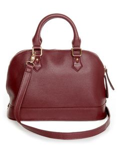 Amongst the stacks of papers expect to find a shockingly cute detail like the Editor's Desk Burgundy Satchel! This structured purse features wine red pebbled vegan leather. Vegan Handbags, Fall Handbags, Black Handbags, Luxury Handbags, Fashion Handbags, Purses And Handbags, Burgundy Handbags, Burgundy Bag, Oxblood