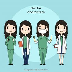 Collection of friendly female doctor characters ,