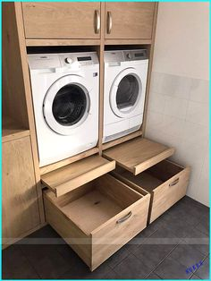 Like the pull out platform/shelf for loading and unloading, setting basket down, etc. Also the large drawers at bottom. Machine units look to be at a … – Laundry Room Laundry Closet, Small Laundry Rooms, Laundry Room Organization, Laundry In Bathroom, Organization Ideas, Storage Ideas, Laundry Doors, Organized Laundry Rooms, Laundry In Kitchen