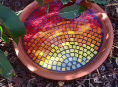 Birdbath Bird bath Mosaic garden art by RebeccaNaylorMosaics