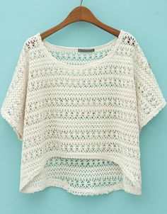 Beige Batwing Short Sleeve Hollow Lace Blouse US$18.94