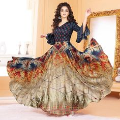 Buy Attractive Multicolored Partywear Digital Printed Tussar Art Silk Gown at Rs. Get latest Gown at Peachmode. Indian Gowns Dresses, Indian Fashion Dresses, Eid Dresses, Designer Gowns, Indian Designer Wear, Designer Kurtis, Designer Anarkali, Printed Gowns, Kurti Designs Party Wear