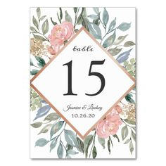 Shop Dusty Pink Blue Green Foliage Rustic Wedding Table Number created by OwlsomePaperie. Romantic Wedding Colors, Romantic Wedding Receptions, Pink Wedding Theme, Rustic Wedding, Wedding Details, Blush Wedding Invitations, Watercolor Wedding Invitations, Floral Invitation, Invites