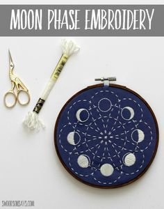 A stitched up version of a moon embroidery pattern from CozyBlue, using glow in the dark floss from DMC - I share a few views of the sashiko stitching!