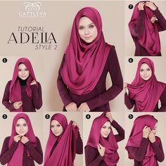 How To Wear Silk Hijab - Tutorial - Hijab Fashion Inspiration Silk hijabs are so elegant and spruce up any outfit to make it look special, stylish and fashionabl Turban Hijab, Hijab Dress, Hijab Outfit, Square Hijab Tutorial, Hijab Style Tutorial, How To Wear Hijab, How To Wear Scarves, Stylish Hijab, Hijab Chic