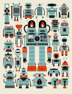 papier 18 projet pro chambre cuisine affiche de robot murs de ppinire garons ppinire studios de mthane robots robots - Affiche Garcon Robot