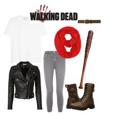 """""""The walking dead negan"""" by emilyschroeer on Polyvore featuring Mode, Yves Saint Laurent, IRO, L'Agence, Isabel Marant, Harley-Davidson und Lucille"""