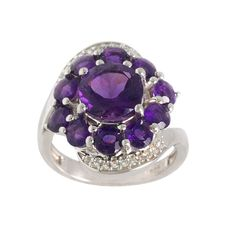 Purple Amethyst White Topaz 925 Sterling Silver by ArihantJewelry