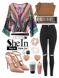 """#8 V Neck Print Blouse - Shein"" by bbatwomann ❤ liked on Polyvore featuring Topshop, Valentino, Forever 21, Michael Kors, Urban Decay, MAC Cosmetics, Ted Baker and Fuji"