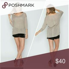 Dolman top Linen blend dolman sleeve top in tan. A beautiful basic  goes great with a beautiful necklace. Tops Tees - Long Sleeve