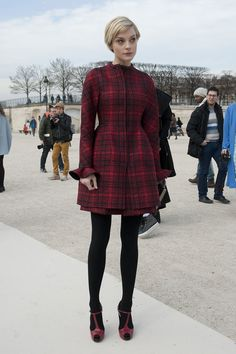 How amazing is tailored red plaid on Jessica Stam?