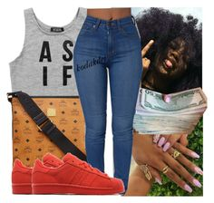 """"""""""" by kodakdej ❤ liked on Polyvore featuring Dimepiece, MCM and adidas Originals"""