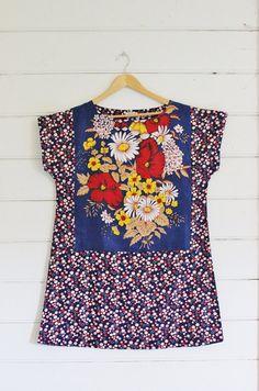 Upcycled linge torchon tunique femmes robe Vintage Floral Mod Mini rouge tacheté rétro coton bleu grande taille positive