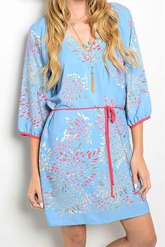 Beautiful floral kimono style dress featuring simple silhouette, waist defining tie, 3/4 length blouse sleeves. Dress up with a statement necklace and heels or wear casually with flats.   Floral Kimono Dress by Pretty Little Things. Clothing - Dresses New Hampshire
