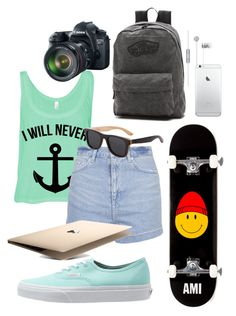 """6 days left"" by kabylou ❤ liked on Polyvore featuring Topshop, Vans, Woodzee, AMI and Eos"