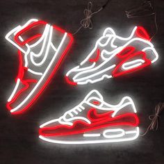 MK Neon strikes again with this unique Air Max 1 LED Neon Sign! Using the new technology of LED Neon, it's bigger and brighter than before! Sneakers Wallpaper, Shoes Wallpaper, Wallpaper Iphone Neon, Nike Wallpaper, Red Wallpaper, Neon Sneakers, Neon Shoes, Nike Neon, Neon Led