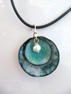 Enamel Jewelry, Enamel on Copper Pendant, Denim and Pearl. $32.00, via Etsy.