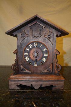 ANTIQUE GERMAN BLACK FOREST GHS SHELF/MANTLE CUCKOO CLOCK
