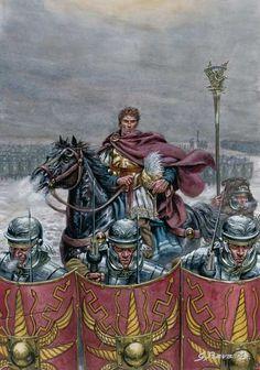 CESAR+EN+BRITANNIA.. -  ANNEE 54 av JC: Bretons, Eburons et Trévires, 2) 2° eXPEDITION EN BRETAGNE, 3: Sur une rivière, la cavalerie romaine repousse celle ennemie et les chars bretons, puis se retirant dans les bois, les Bretons perdent leurs retranchements face à la 7° légion formée en tortue et fuient. César préfère ne pas les poursuivre, ne connaissant pas le pays, et fortifie son camp.