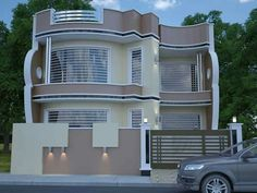 Top ideas for home decor and interior design floors, ceiling and wall House Front Design, Modern House Design, Facade Design, Exterior Design, Facade House, House Facades, Compound Wall Design, House Elevation, Exterior House Colors
