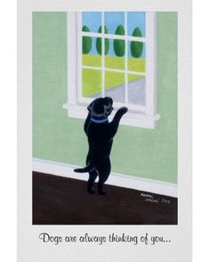 Black Labrador Puppy Window Poster
