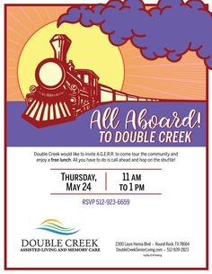 If you would like a ride to Double Creek for a free Lunch and tour, give us a call! We'll pick you up.