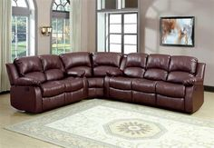 Cranley Brown Fabric Bonded Leather Sectional