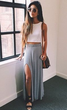 Gray maxi skirt, white crop top, summer outfit, traveling