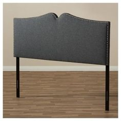 Gracie Modern and Contemporary Fabric Upholstered Headboard with Nail Heads Trim - King - Dark Grey - Baxton Studio, Gray
