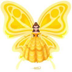 Belle [as a butterfly] (Drawing by ApicolloDraws Every Disney Princess, Disney Nerd, Disney Marvel, Disney Fan Art, Disney Love, Butterfly Drawing, Butterfly Fairy, Butterfly Kisses, Disney And Dreamworks