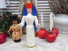 Vintage Weihnachtsdeko - zauberhafter alter Engel Leuchter XL Erzgebirge - ein Designerstück von artdecoundso bei DaWanda