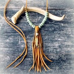 Feather Necklace Long Tassel Necklace Suede Leather Necklace - MINT - Boho Jewelry Tribal Jewelry Gypsy Jewelry Bohemian - Fringe Necklace by xxxAZUxxx on Etsy https://www.etsy.com/listing/225314427/feather-necklace-long-tassel-necklace