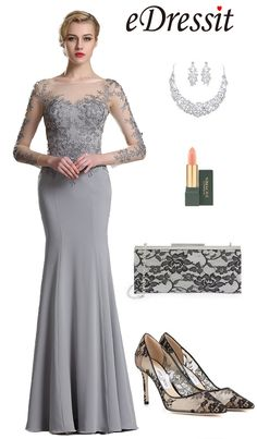 [USD 189.99] eDressit Illusion Neckline Floral Applique Prom Evening Dress…
