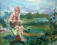 Original Painting by collected Artist Samuel Burton girl sitting on terrace oil Now Oils, Space Place, Worlds Largest, Terrace, Original Paintings, Contemporary, The Originals, City, Artist