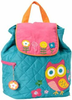 This charming teal backpack features a quilted design, pink embroidered flap & super cute big eyed owl. This is the perfect backpack for toddlers!