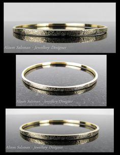 9ct Gold Textured Bangle. the Gold Collection - Alison Salzman - Jewellery Designer