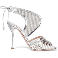 Nicholas Kirkwood Mirrored-leather and mesh sandals ($1,120) ❤ liked on Polyvore featuring shoes, sandals, heels, silver, nicholas kirkwood, tie sandals, mesh sandals, nicholas kirkwood sandals and beige shoes