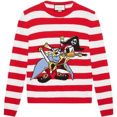 Gucci Intarsia wool sweater with Donald Duck pirate ($1,590) ❤ liked on Polyvore featuring men's fashion, men's clothing, men's sweaters, red, mens red sweater, men's wool crew neck sweaters, mens wool sweaters, mens striped sweater and mens woolen sweaters