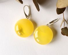 Massive round amber earrings yellow color amber earrings natural Baltic amber jewelry white amber stone unique natural earrings 8.9 g. by AmberDesign8 on Etsy