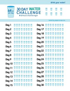30 day Water Challenge Free printable water tracker by Pepper Scraps Plus you can join the challenge and get support Squat Challenge, Health Challenge, 30 Day Challenge, Walking Challenge, Jumping Jack Challenge, Thigh Challenge, Diet Programme, Planner Stickers, 30 Tag