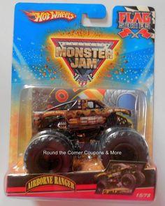 2010 Airborne Ranger #15/75 Hot Wheels Monster Jam Truck 1:64 scale with Flag #HotWheels #MonsterTruck