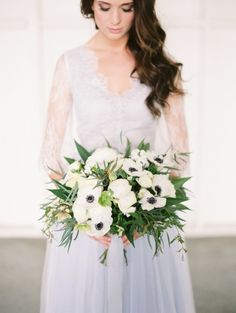 Pretty white anemone bouquet: http://www.stylemepretty.com/california-weddings/los-angeles/2016/05/16/this-pretty-pastel-wedding-dress-will-make-you-reconsider-white/ | Photography: Mallory Dawn - http://www.mallorydawn.com/