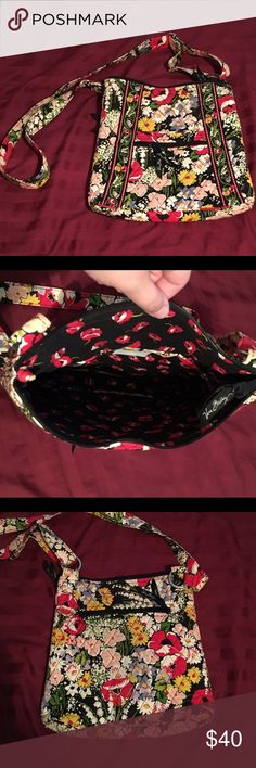 """Vera Bradley Cross Body Bag Purse measures almost 11"""" tall, 11"""" wide, and 2"""" deep. Sides are soft and will expand to make room inside! Strap is fully adjustable. Open pocket on front with additional zipper pocket, 3 open pockets on one inner wall. Zipper pocket of back outside of purse. Zipper closure on top. Some signs of wear in color of fabric, but no tears or holes! Vera Bradley Bags Crossbody Bags"""