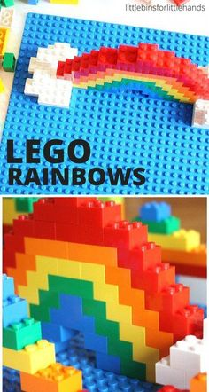 LEGO Rainbow build challenge for kids. Spring and Summer STEM activity exploring color, symmetry, and engineering.