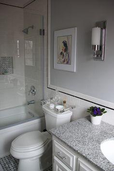 Bathroom, white subway tile, black accent & grey paint