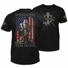 Warrior shirts feature warrior-inspired designs for patriotic Americans. Come see the Warrior 12 difference. Patriotic Outfit, Patriotic Shirts, Cool T Shirts, Tee Shirts, Warriors Shirt, Fit 4, St Michael, Jackets For Women, Psalm 23
