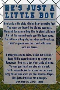 Parents...I love baseball too. But it IS only a game. That's somebody's child at the plate and somebody else's on the mound. Let's be the good sports we say we want our kids to be. :)