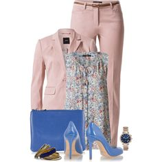 Office outfit: Rose - Royal Blue - Floral by downtownblues on Polyvore