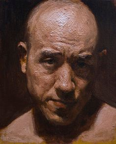 Artist: Sam Kim, Seoul, South Korea {contemporary figurative art painter male head #impasto texture man face portrait painting}